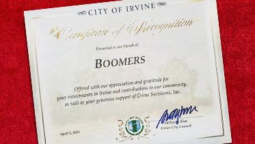 Irvine Certificate